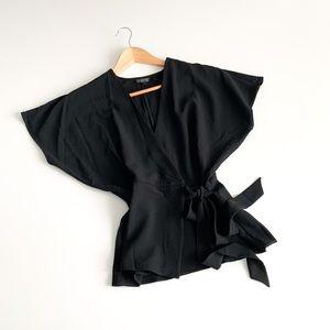Topshop Wrap Tie Front Black Blouse